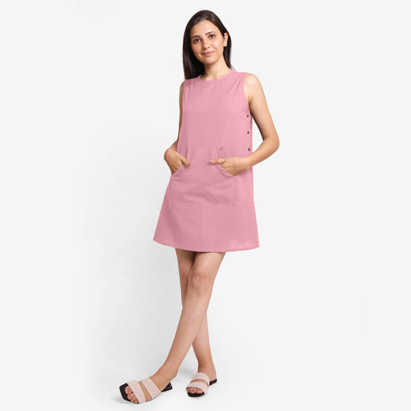 Front View of a Model wearing Pink Cotton Flax Kangaroo Pocket Dress