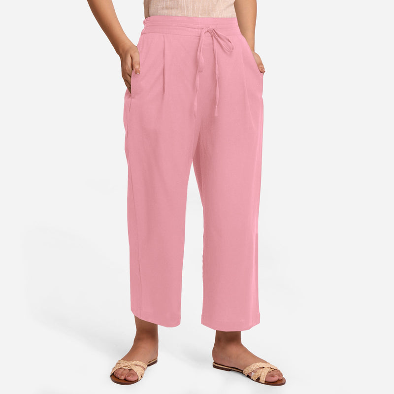 Front View of a Model wearing Pink Cotton Flax Wide Legged Pant