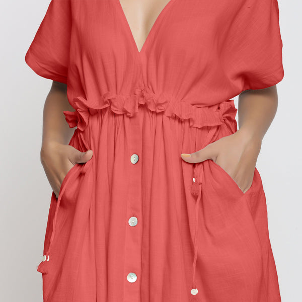 Pink Deep Neck Bohemian Frilled Dress