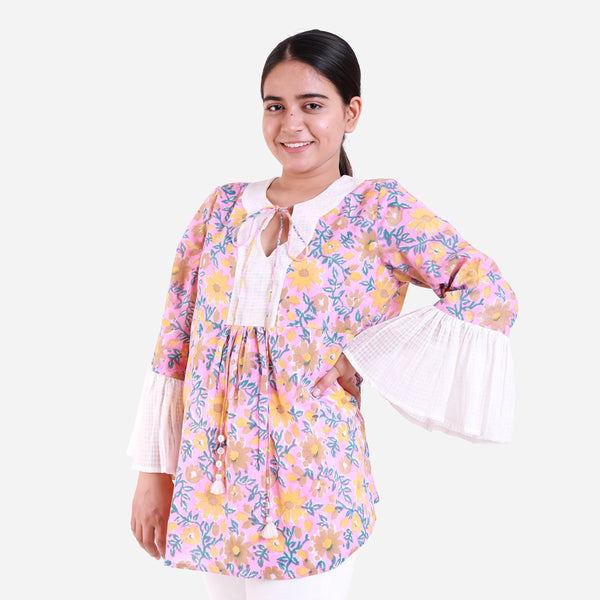 Front View of a Model wearing Pink Floral Print Frilled Sleeve Top