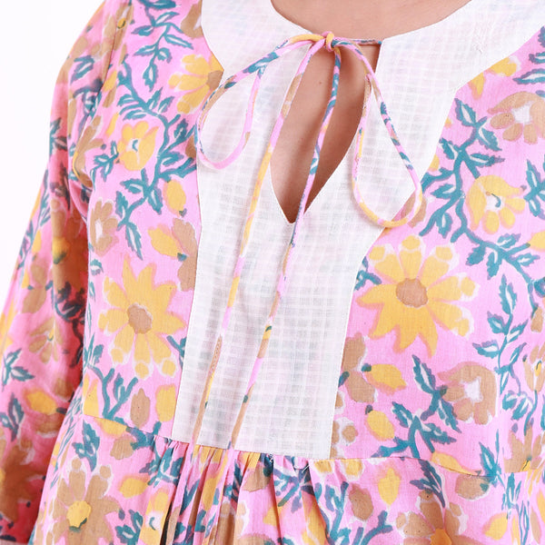 Front Detail of a Model wearing Pink Floral Print Frilled Sleeve Top