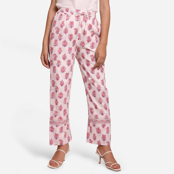 Front View of a Model wearing Fuchsia Block Printed Straight Pant