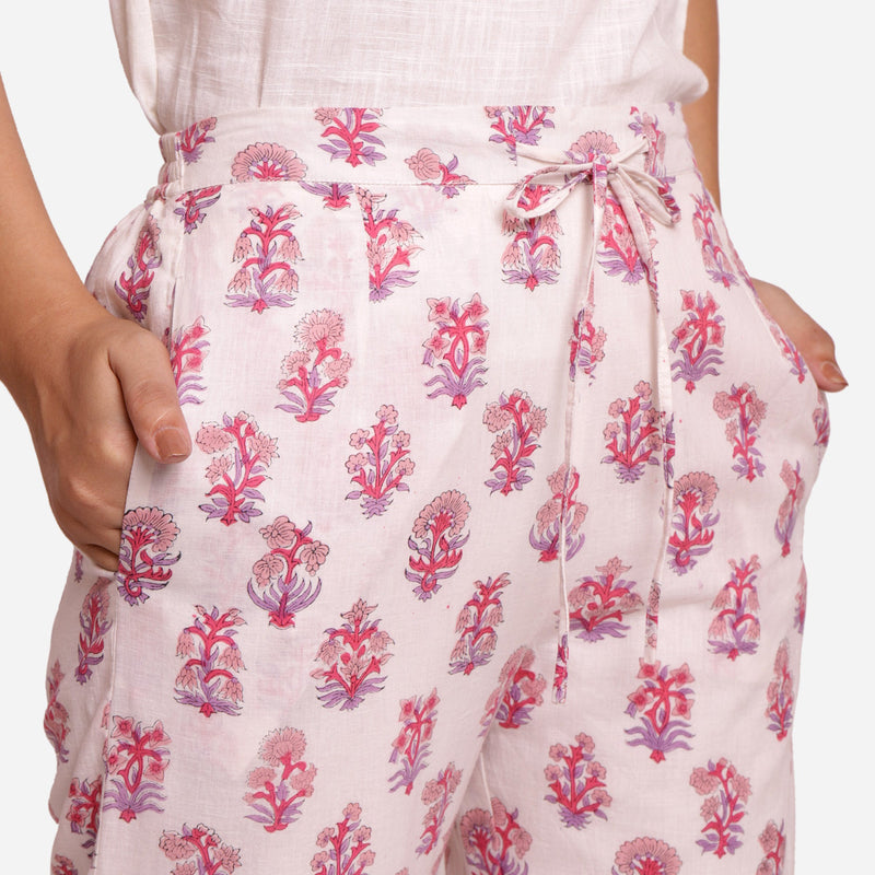 Front Detail of a Model wearing Fuchsia Block Printed Straight Pant