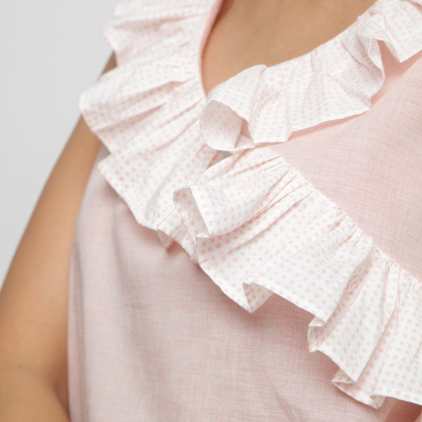 Front Detail of a Model wearing Pink Frilled Cotton Chambray Straight Top