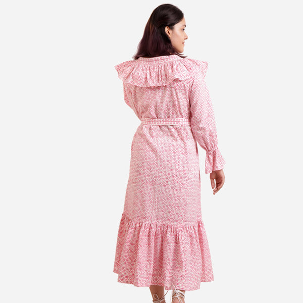 Back View of a Model wearing Pink Sanganeri Block Print A-Line Dress