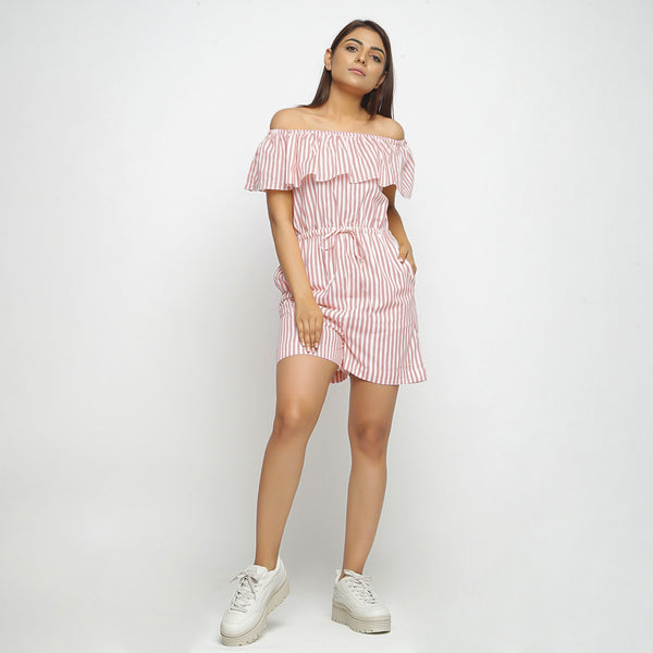 Front View of a Model wearing Pink Hand-Screen Print Playsuit