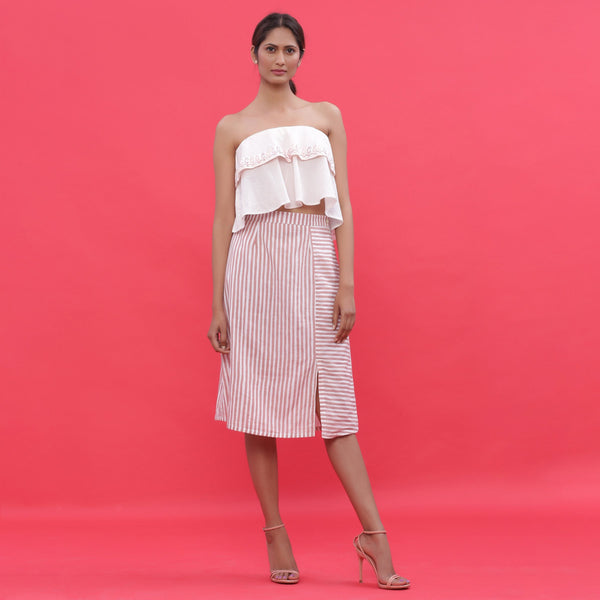 Front View of a Model wearing Pink Hand Screen Printed Striped A-Line Skirt