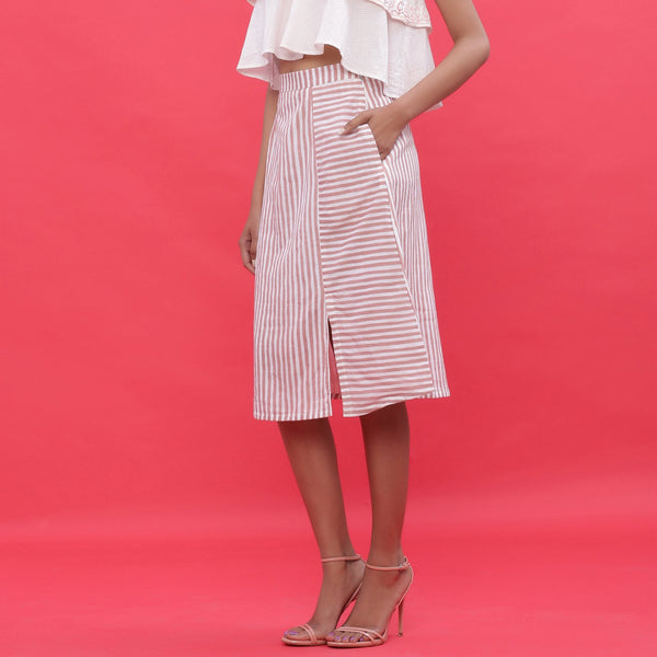 Left View of a Model wearing Pink Hand Screen Printed Striped A-Line Skirt