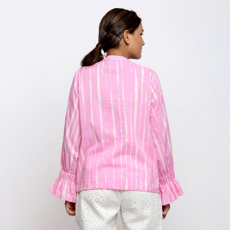 Back View of a Model wearing Pink Hand Tie Dyed Shirred Blouson Top