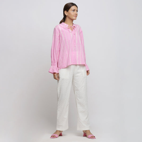 Front View of a Model wearing Pink Hand Tie Dyed Shirred Blouson Top