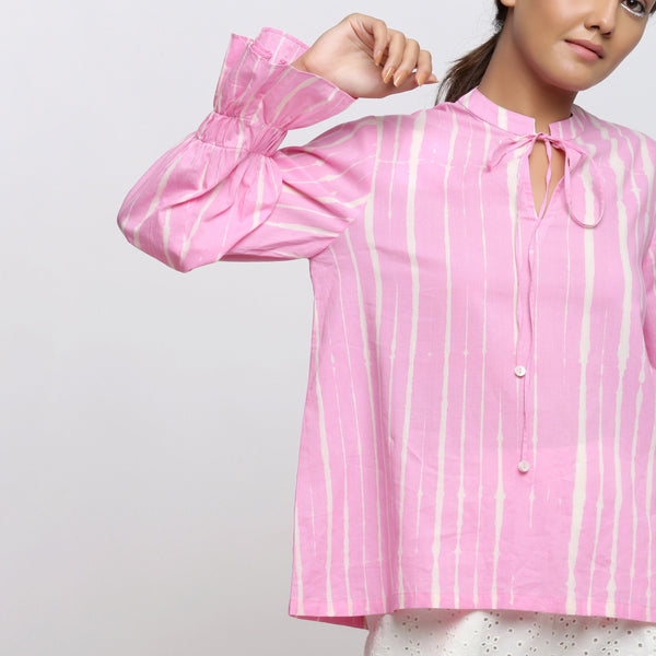 Front Detail of a Model wearing Pink Hand Tie Dyed Shirred Blouson Top