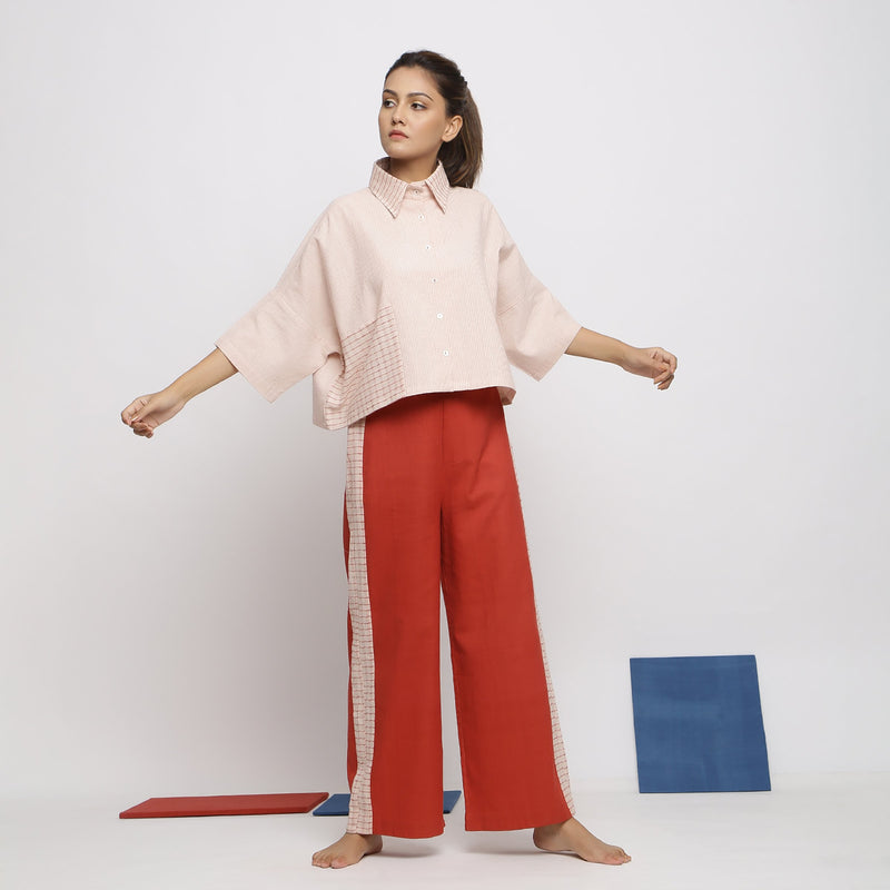 Front View of a Model wearing Pink Handspun Crop Top and Wide Legged Pant Set