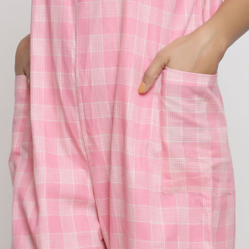 Front Detail of a Model wearing Pink Handspun Cotton Paneled Jumpsuit