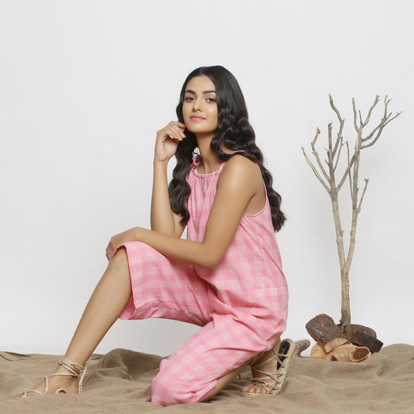 Left View of a Model wearing Pink Handspun Cotton Paneled Jumpsuit