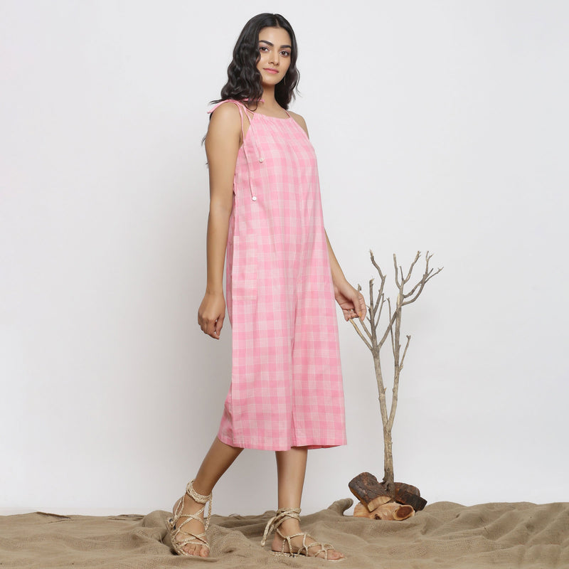 Right View of a Model wearing Pink Handspun Cotton Paneled Jumpsuit