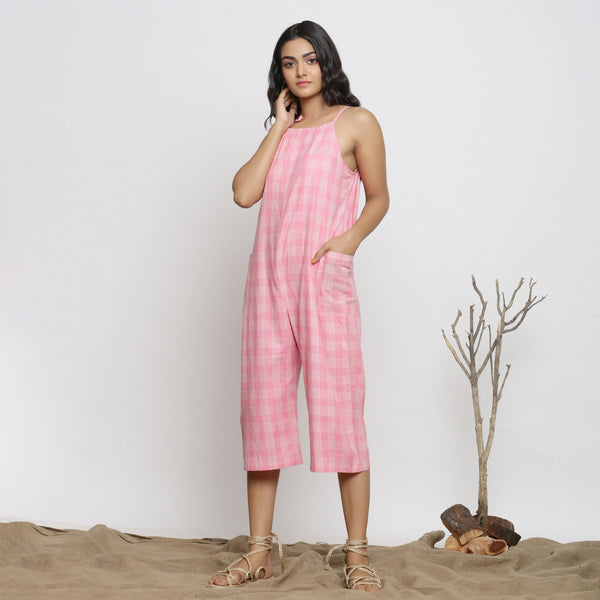 Front View of a Model wearing Pink Handspun Cotton Paneled Jumpsuit