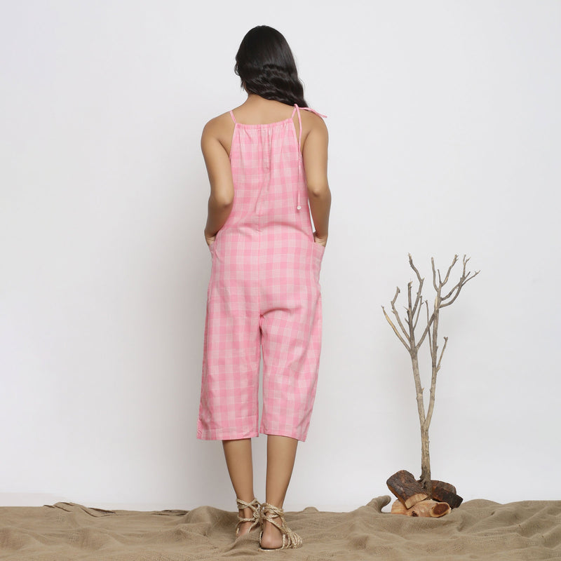 Back View of a Model wearing Pink Handspun Cotton Paneled Jumpsuit