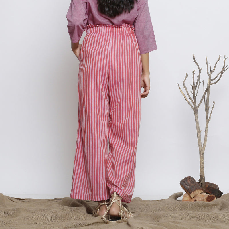 Back View of a Model wearing Pink Handspun Striped Paperbag Pant