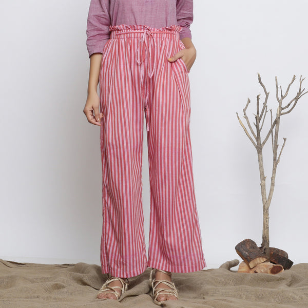 Front View of a Model wearing Pink Handspun Striped Paperbag Pant