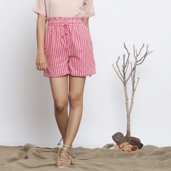 Front View of a Model wearing Pink Striped Handspun Paperbag Shorts