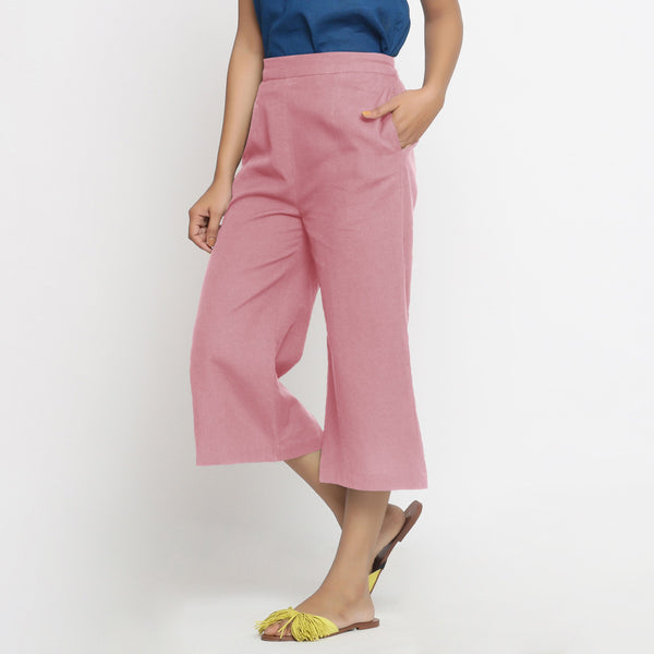Left View of a Model wearing Pink Mid-Rise Cotton Flax Culottes