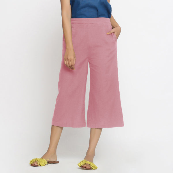 Front View of a Model wearing Pink Mid-Rise Cotton Flax Culottes