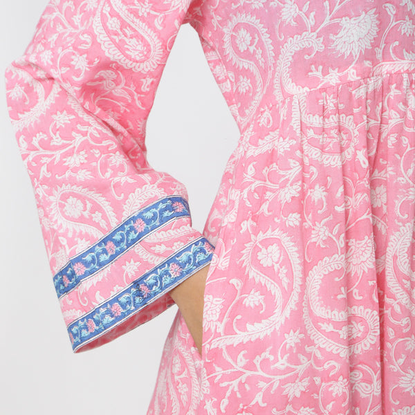 Right Detail of a Model wearing Pink Paisley Floor-Length Tier Dress