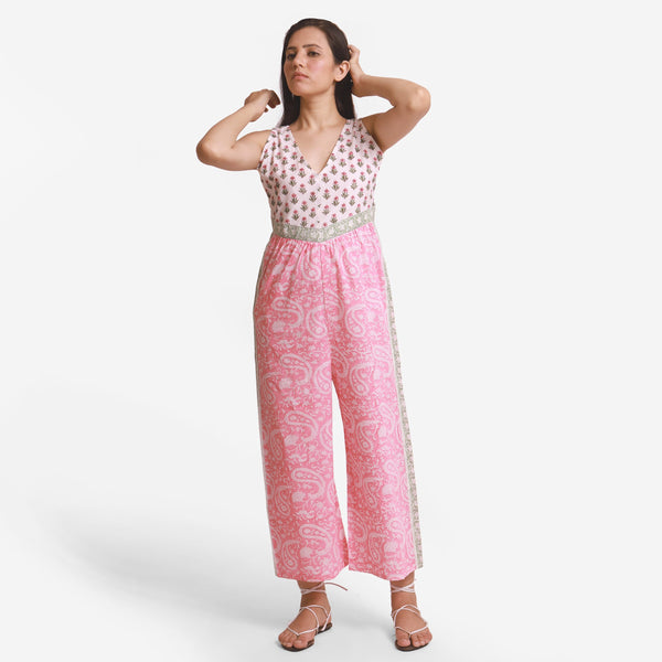 Front View of a Model wearing Pink Paisley Straight Jumpsuit