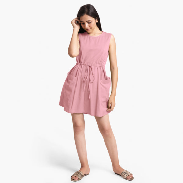Pink Patch Pocket Round Neck Dress