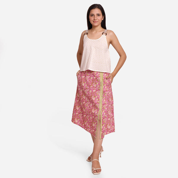 Front View of a Model wearing Wine Sanganeri Block-Printed Slit Skirt