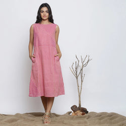 Front View of a Model wearing Pink Striped Sleeveless Paneled Dress