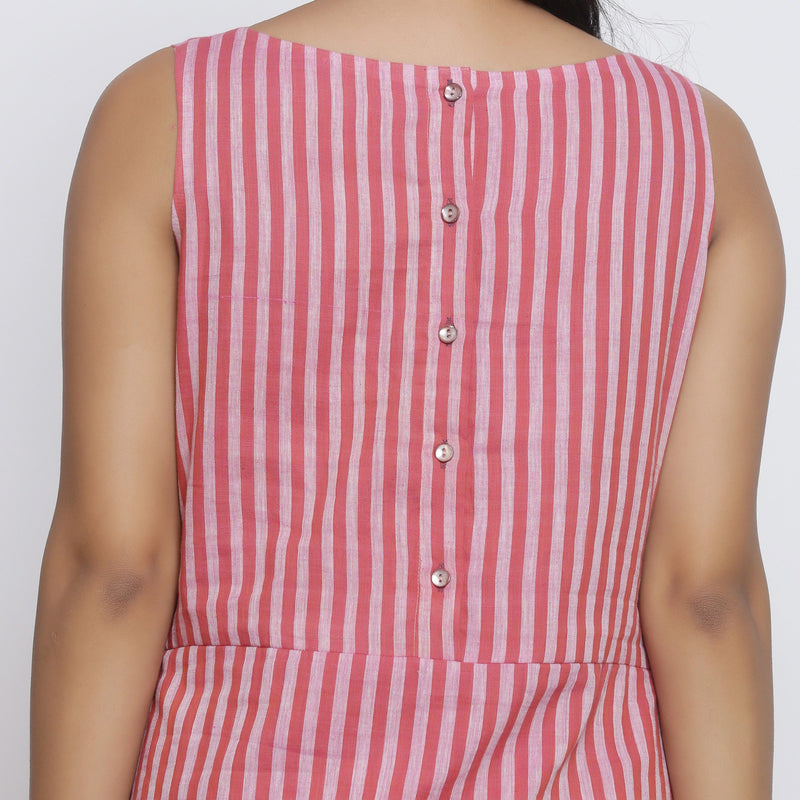 Back Detail of a Model wearing Pink Striped Sleeveless Paneled Dress