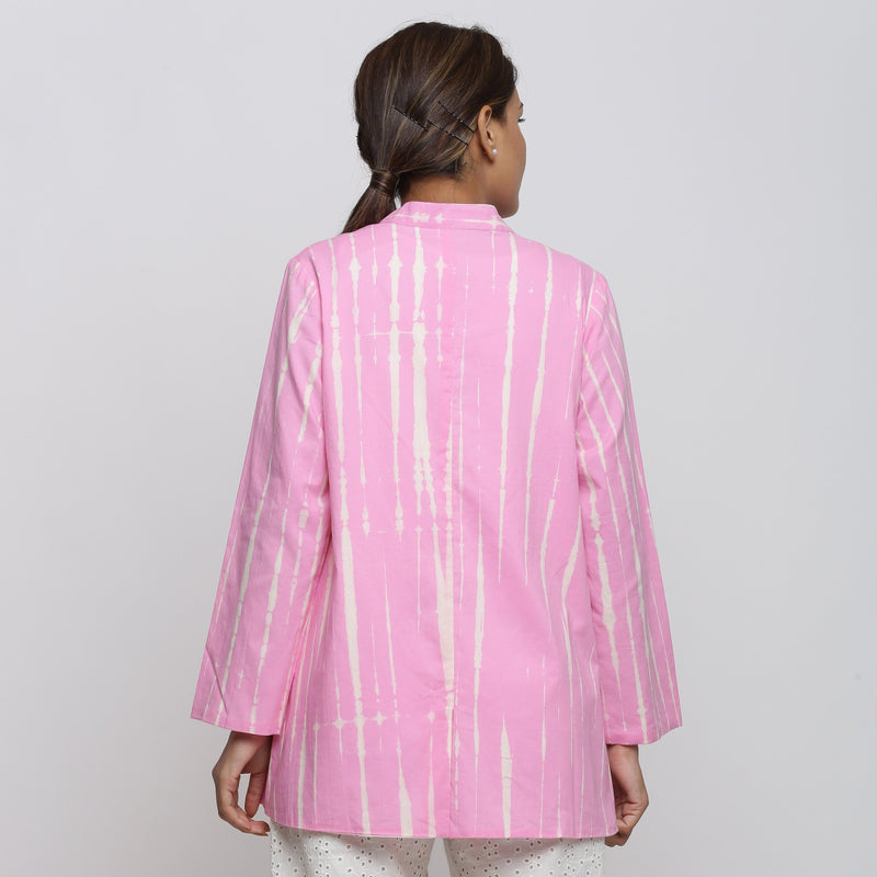 Back View of a Model wearing Pink Tie Dyed Button-Down Jacket