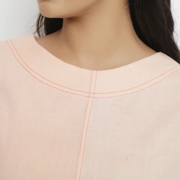 Front Detail of a Model wearing Pink Vegetable Dyed A-Line Paneled Dress
