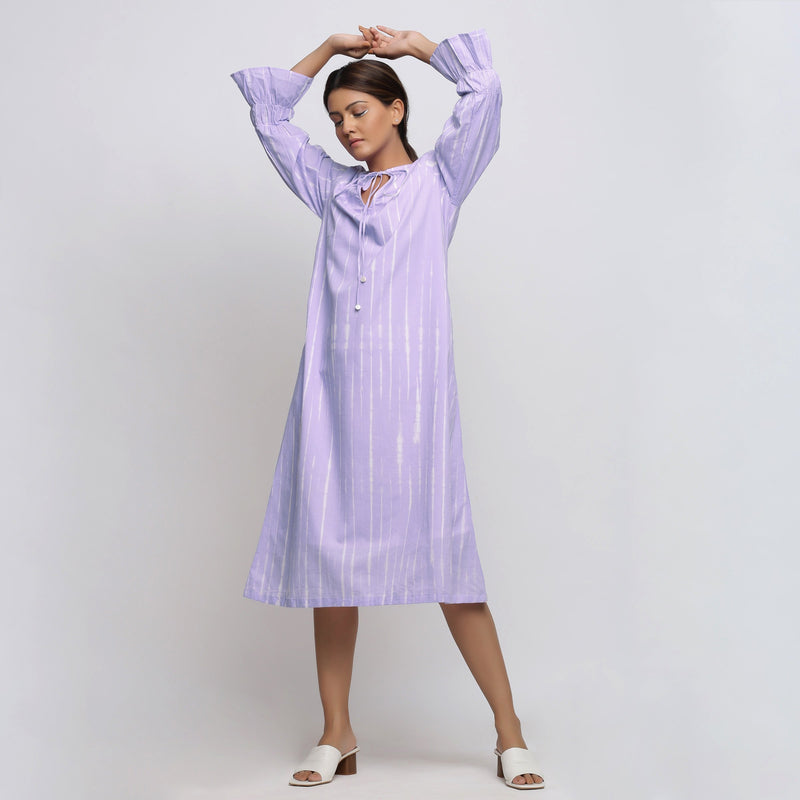 Front View of a Model wearing Poet Sleeves Cotton Lavender Yoke Dress