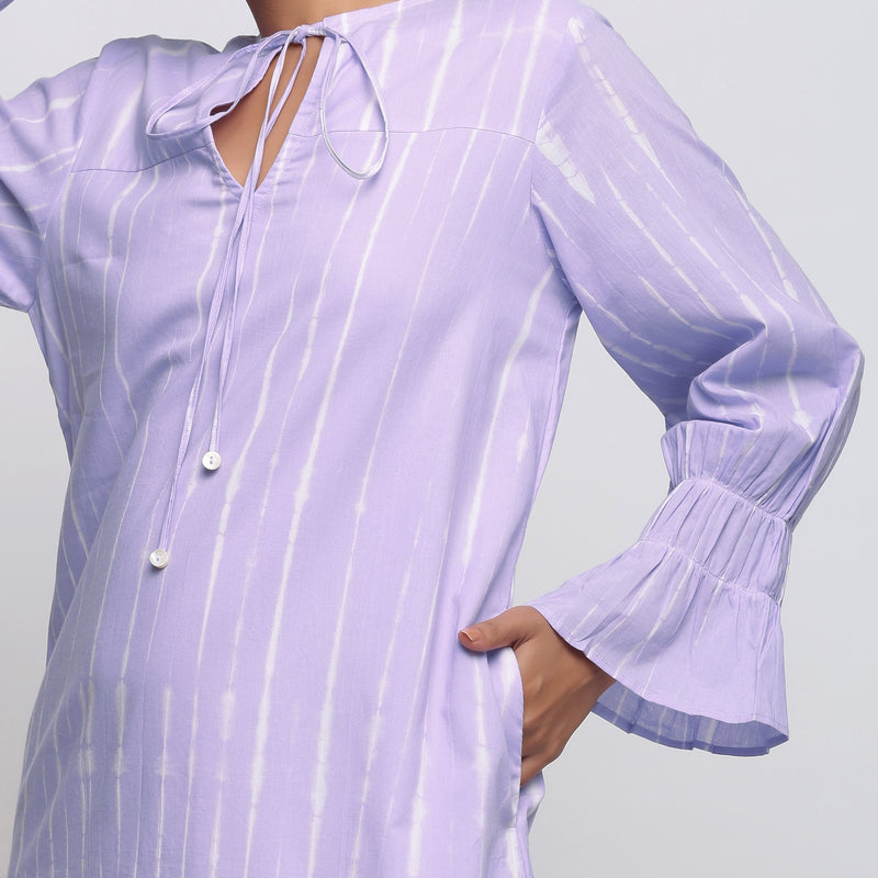 Front Detail of a Model wearing Poet Sleeves Cotton Lavender Yoke Dress