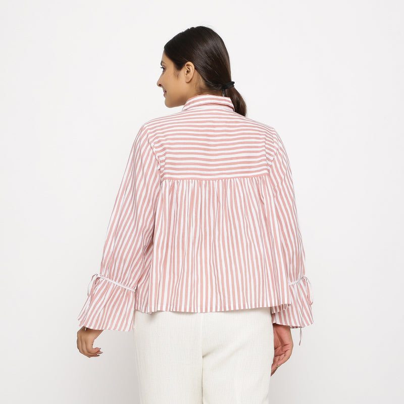 Back View of a Model wearing Hand Screen Printed Gathered Top