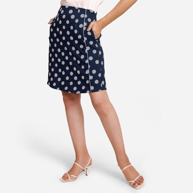 Front View of a Model wearing Polka Dot Indigo High-Rise Pencil Skirt