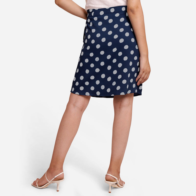 Back View of a Model wearing Polka Dot Indigo High-Rise Pencil Skirt