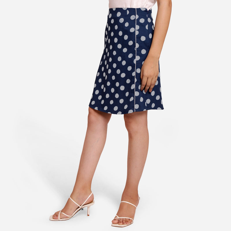 Left View of a Model wearing Polka Dot Indigo High-Rise Pencil Skirt