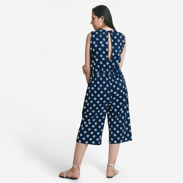 Back View of a Model wearing Polka Dot Straight Culotte Midi Jumpsuit