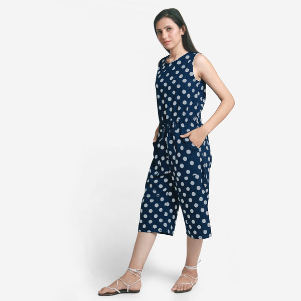 Left View of a Model wearing Polka Dot Straight Culotte Midi Jumpsuit