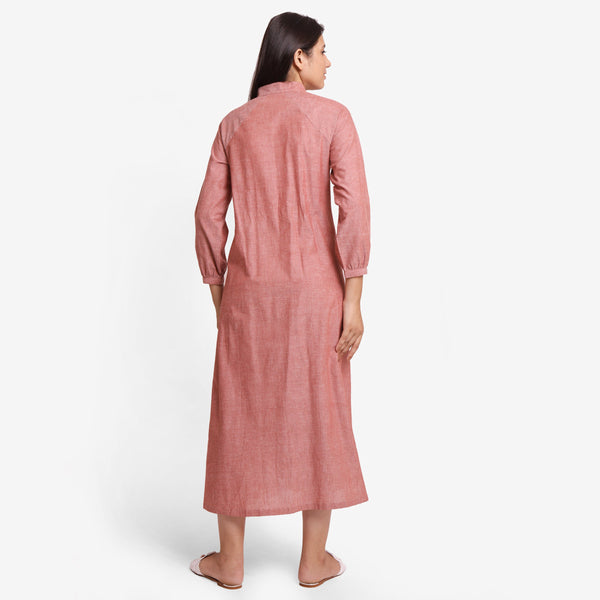 Back View of a Model wearing Peach A-Line Mangalgiri Cotton Dress