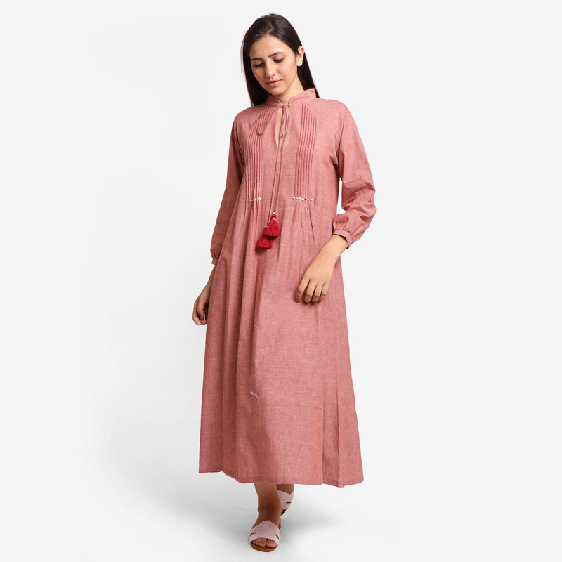 Front View of a Model wearing Peach A-Line Mangalgiri Cotton Dress