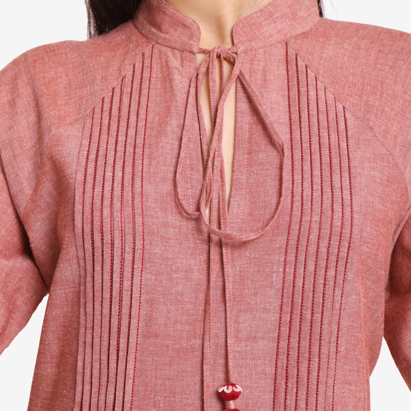 Front Detail of a Model wearing Peach A-Line Mangalgiri Cotton Dress