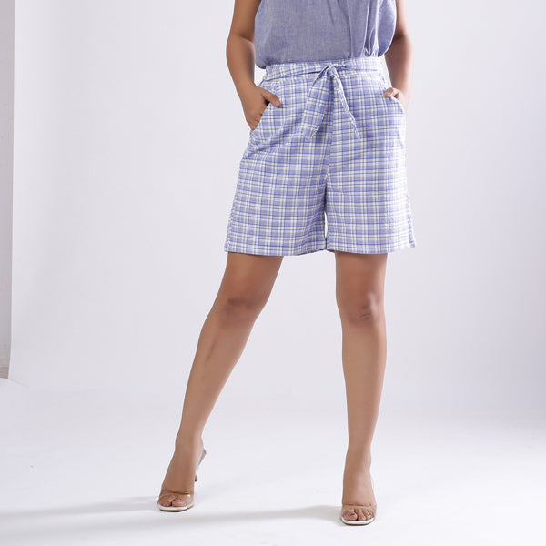 Front View of a Model wearing Powder Blue Checkered Handspun Shorts