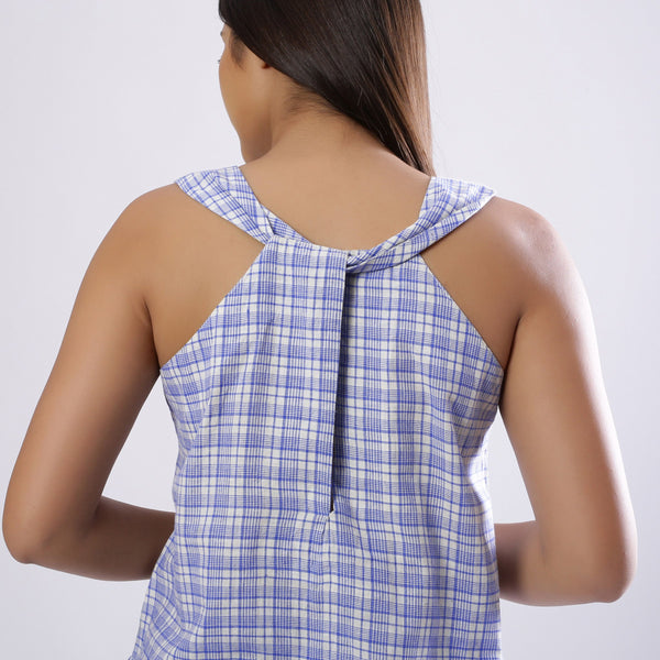 Back Detail of a Model wearing Powder Blue Handspun Checkered Top