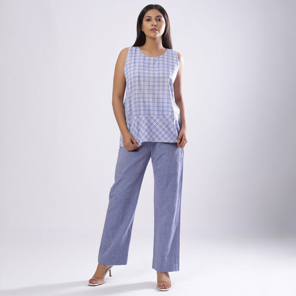 Front View of a Model wearing Powder Blue Handspun Checkered Top