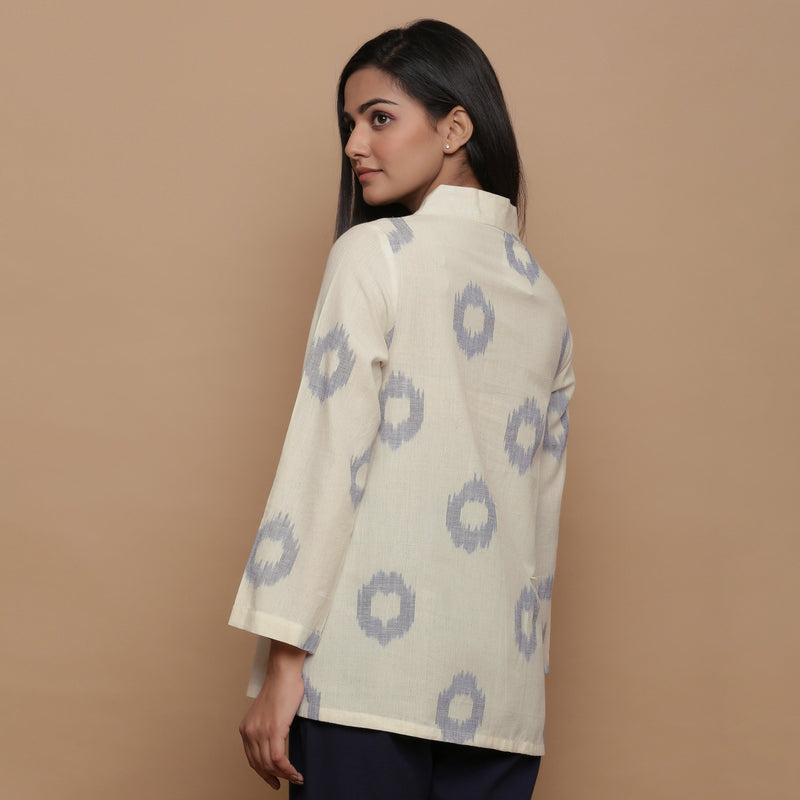 Back View of a Model wearing Powder Blue Handwoven Cotton Top