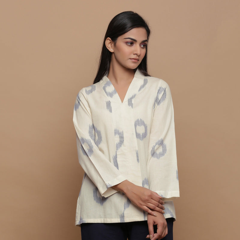 Front View of a Model wearing Powder Blue Handwoven Cotton Top